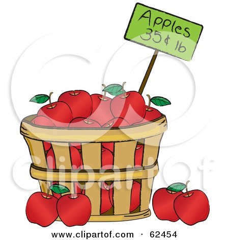 Royalty-Free (RF) Clipart Illustration of a Wood Bushel Of Red Organic Apples And A Price Tag by Pams Clipart