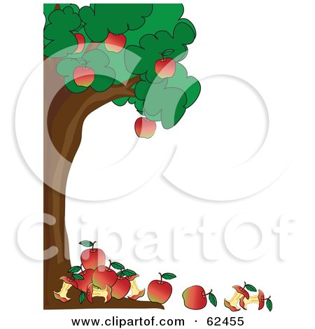 Royalty-Free (RF) Clipart Illustration of a Healthy Apple Tree Boder With Apples And Cores On The Ground by Pams Clipart