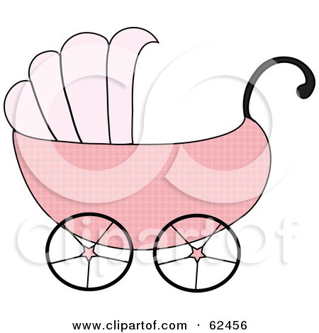Royalty-Free (RF) Clipart Illustration of a Pink Girl Baby Carriage by Pams Clipart