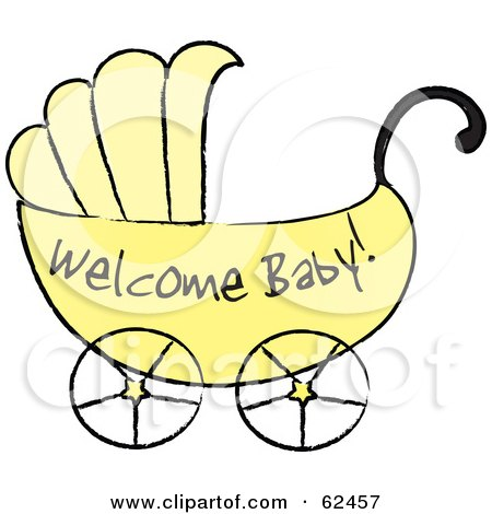 Royalty-Free (RF) Clipart Illustration of a Yellow Welcome Baby Carriage by Pams Clipart