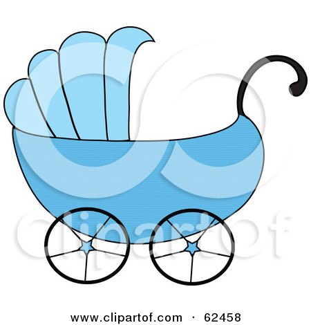 Royalty-Free (RF) Clipart Illustration of a Blue Boy Baby Carriage by Pams Clipart