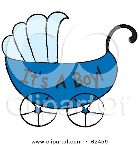 Royalty-Free (RF) Clipart Illustration of a Blue Its A Boy Baby Carriage by Pams Clipart