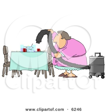 Lazy House Wife Using a Vacuum To Suck Everything Off the Dinner Table so She Doesn't Have to Clean Clipart Picture by djart