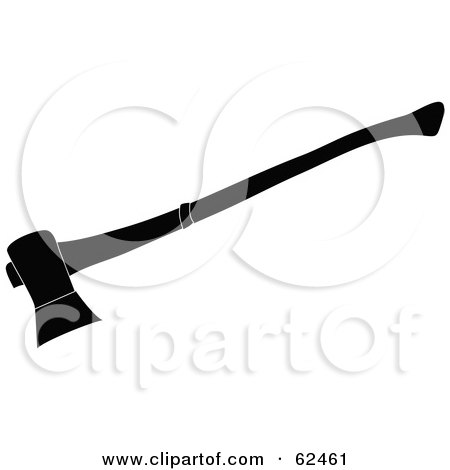 Royalty-Free (RF) Clipart Illustration of a Black And White Axe Silhouette by Pams Clipart