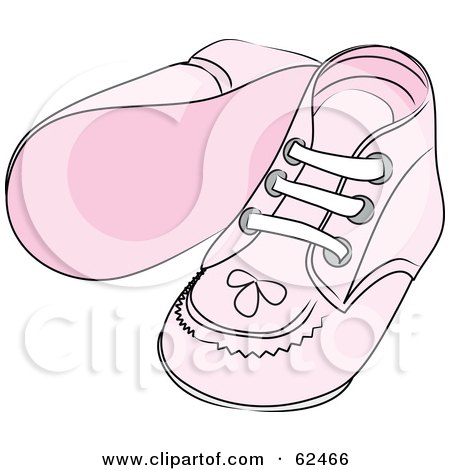 Royalty-Free (RF) Clipart Illustration of a Pair Of Pink Baby Shoes With Stitching Patterns by Pams Clipart