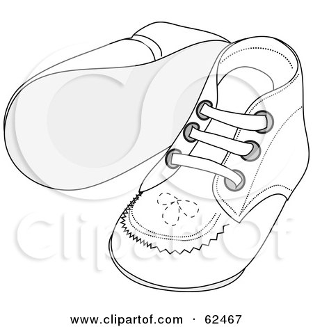 Royalty-Free (RF) Clipart Illustration of a Pair Of White Baby Shoes With Stitching Patterns by Pams Clipart