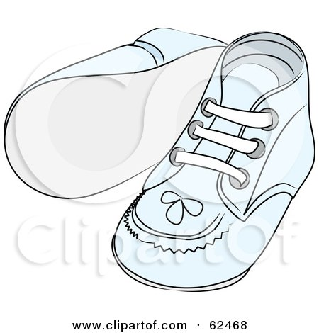 Royalty-Free (RF) Clipart Illustration of a Pair Of Blue Baby Shoes With Stitching Patterns by Pams Clipart
