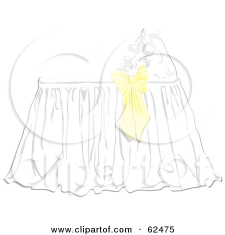 Royalty-Free (RF) Clipart Illustration of a Yellow Bow On A Baby Bassinet by Pams Clipart