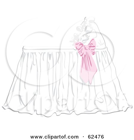 Royalty-Free (RF) Clipart Illustration of a Pink Bow On A Baby Bassinet by Pams Clipart