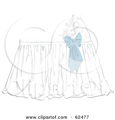 Royalty-Free (RF) Clipart Illustration of a Blue Bow On A Baby Bassinet by Pams Clipart