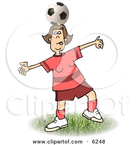 Girl Balancing a Soccer Ball on Top of Her Head Clipart Picture by djart
