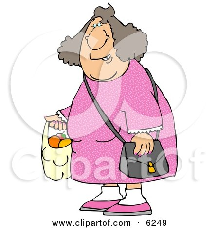 Woman Carrying a Plastic Bag Full of Fruit Clipart Picture by djart
