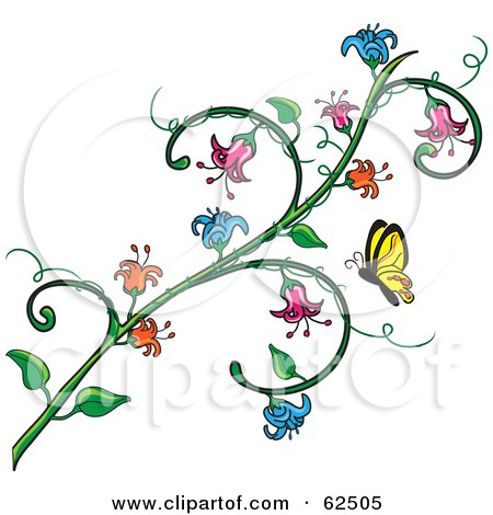 Butterfly Approaching A Flowering Vine Posters Art Prints