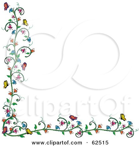 Flowering Vine And Butterfly Border Over White Posters, Art Prints
