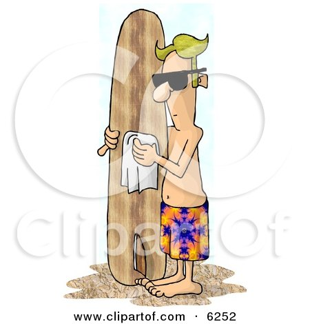 Blond Male Surfer Dude Polishing His Surfboard on a Beach Clipart Picture by djart