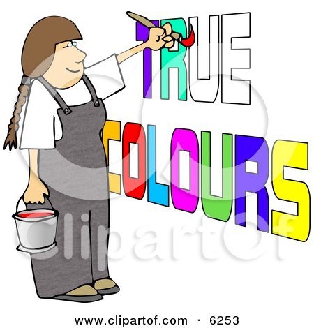 Female Painter Painting True Colours on a Wall Posters, Art Prints