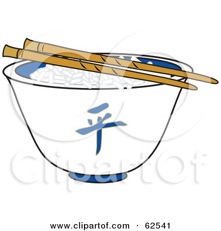 Royalty-free clipart picture of a pair of chopsticks over rice in a white