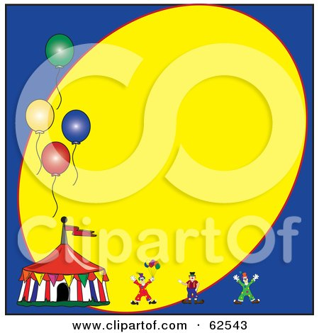 Royalty-Free (RF) Clipart Illustration of a Circus Clown And Tent With Balloons On A Blue And Yellow Background by Pams Clipart