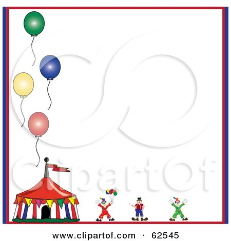 Royalty-Free (RF) Clipart Illustration of a Circus Clown And Tent With Balloons On A White Background by Pams Clipart