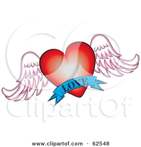 Royalty-Free (RF) Clipart Illustration of a Red Winged Heart With A Blue Love Banner by Pams Clipart