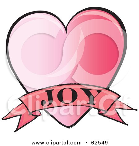 Royalty-Free (RF) Clipart Illustration of a Pink Heart With A Joy Banner by Pams Clipart