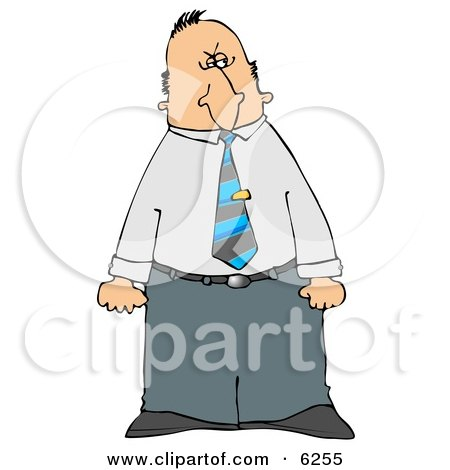 Mad Businessman Giving A Dirty Look With His Face While Clenching Both Fists Royalty Free Clipart Illustration