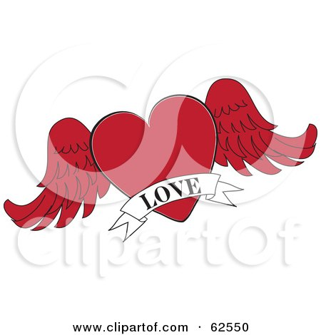 Royalty-Free (RF) Clipart Illustration of a Red Winged Heart With A White Love Banner by Pams Clipart