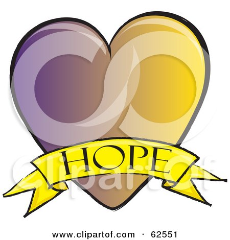 Royalty-Free (RF) Clipart Illustration of a Purple And Yellow Heart With A Hope Banner by Pams Clipart