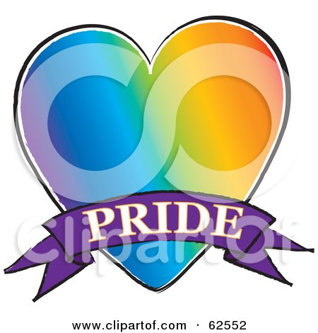 Royalty-Free (RF) Clipart Illustration of a Rainbow Gay Heart With A Pride Banner by Pams Clipart