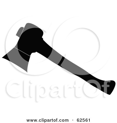 Royalty-Free (RF) Clipart Illustration of a Black And White Hatchet by Pams Clipart