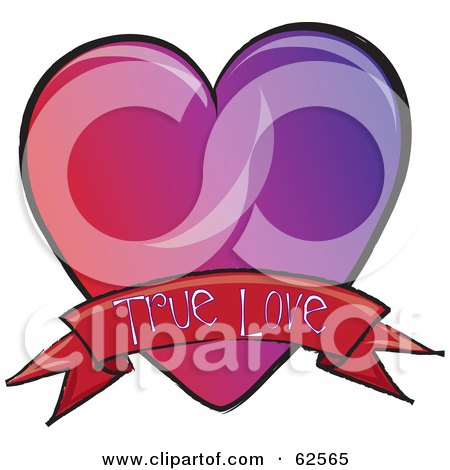 Royalty-Free (RF) Clipart Illustration of a Red And Purple Heart With A True Love Banner by Pams Clipart