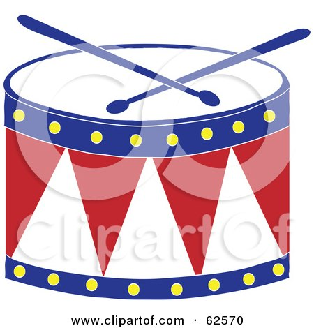 Royalty-Free (RF) Clipart Illustration of a Red White And Blue Drum And Drumsticks by Pams Clipart