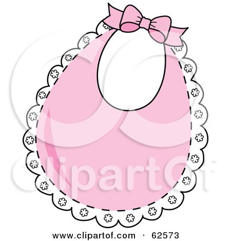 Royalty-Free (RF) Clipart Illustration of a Lacy Pink Baby Bib With A Bow by Pams Clipart