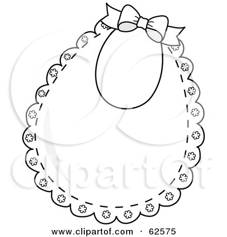 Royalty-Free (RF) Clipart Illustration of a Lacy White Baby Bib With A Bow by Pams Clipart