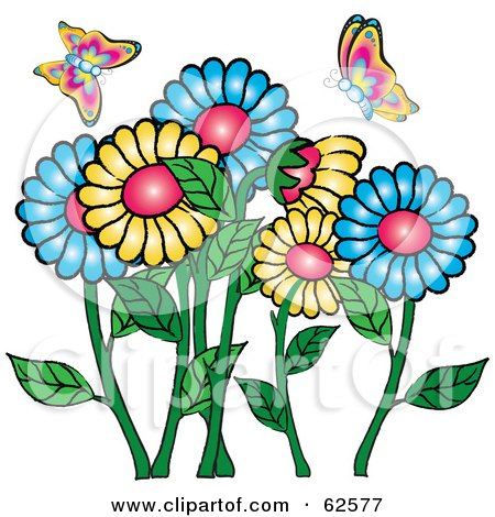 Royalty-Free (RF) Clipart Illustration of Colorful Spring Butterflies Over A Daisy Flower Garden by Pams Clipart
