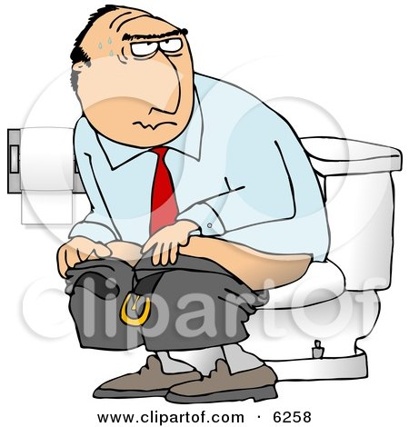 Businessman Going Poop In a Public Toilet  - Royalty-free Clipart Illustration by djart