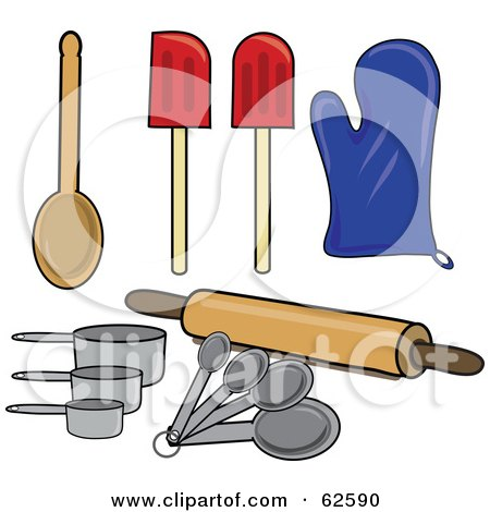 Royalty-Free (RF) Clipart Illustration of a Digital Collage Of Kitchen Spoons, Spatulas, Mits, Measuring Tools And A Rolling Pin by Pams Clipart