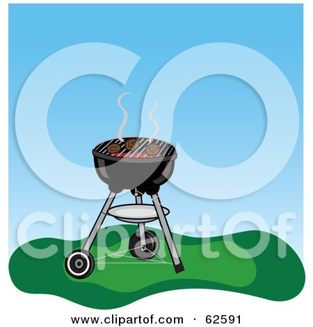 Royalty-Free (RF) Clipart Illustration of Hamburgers Cooking On A Charcoal Grill by Pams Clipart