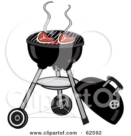 Royalty-Free (RF) Clipart Illustration of Steaks Cooking On A Charcoal Grill by Pams Clipart
