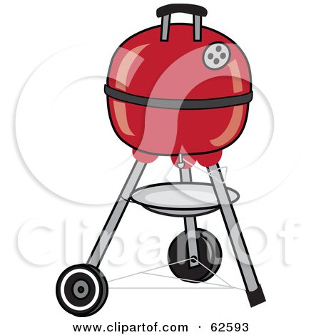 Royalty-Free (RF) Clipart Illustration of a Closed Red Portable Black BBQ by Pams Clipart