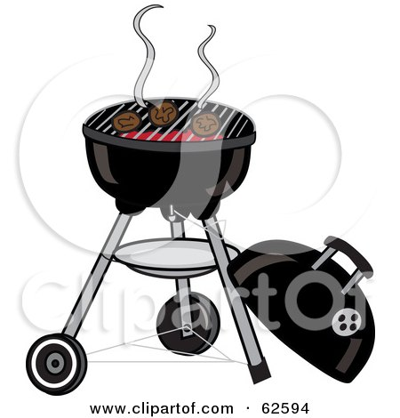 Royalty-Free (RF) Clipart Illustration of Hamburger Patties Cooking On A Charcoal Grill by Pams Clipart