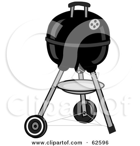 Royalty-Free (RF) Clipart Illustration of a Closed Black Portable Black BBQ by Pams Clipart
