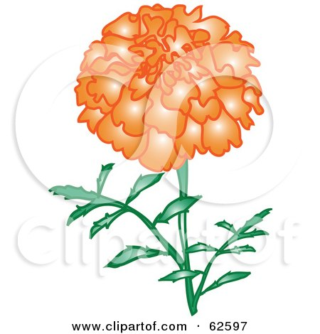 Royalty-Free (RF) Clipart Illustration of a Glowing Orange Marigold Flower by Pams Clipart