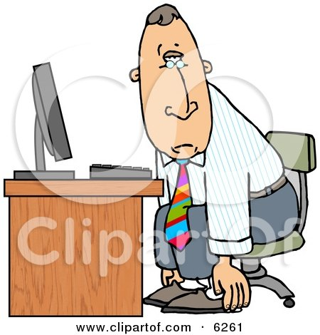 Tired Businessman Sitting at Computer Desk - Royalty-free Clipart Illustration by djart