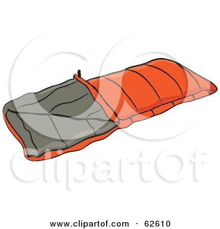 Royalty Free RF Clipart Illustration Of An Orange Camping Sleeping Bag By Pams