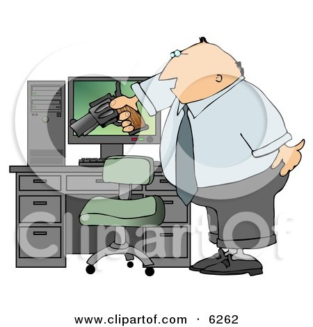 Angry Businessman Pointing A Gun At His Computer Tower Royalty Free Clipart Illustration