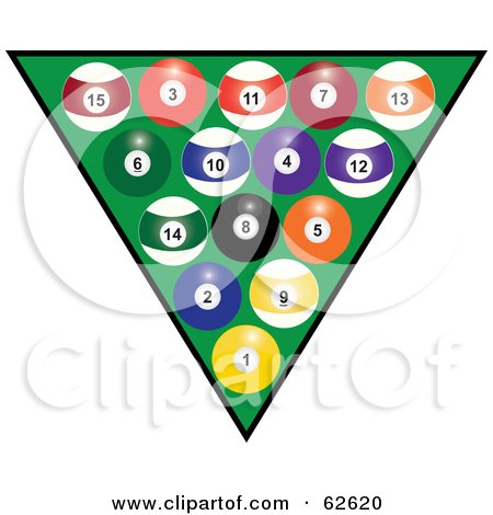 Royalty-Free (RF) Clipart Illustration of Racked Pool Balls Over Green by Pams Clipart