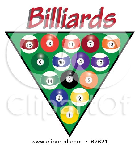 Royalty-Free (RF) Clipart Illustration of Racked Pool Balls Over Green With Red Billiards Text by Pams Clipart