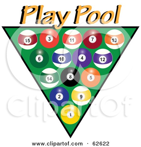 Royalty-Free (RF) Clipart Illustration of Racked Pool Balls Over Green With Yellow Play Pool Text by Pams Clipart