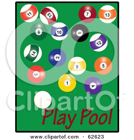 Royalty-Free (RF) Clipart Illustration of Scattered Billiards Balls On Green With Red Play Pool Text by Pams Clipart
